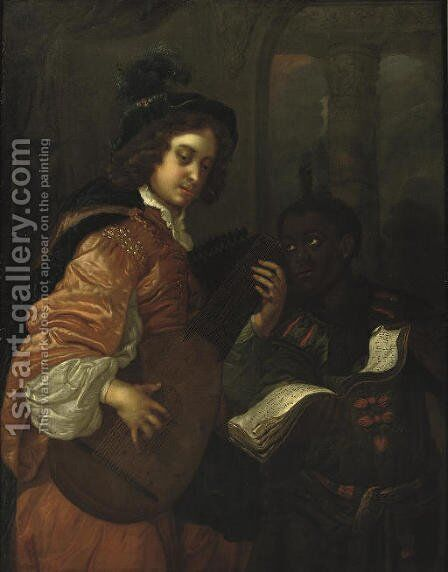 A man playing the lute with a servant holding a music sheet by (after) Carel De Moor - Reproduction Oil Painting