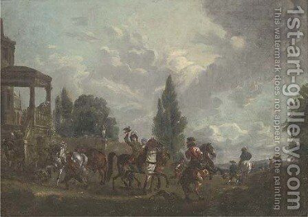 A hunting party setting out from a country estate by (after) Carel Van Falens Or Valens - Reproduction Oil Painting