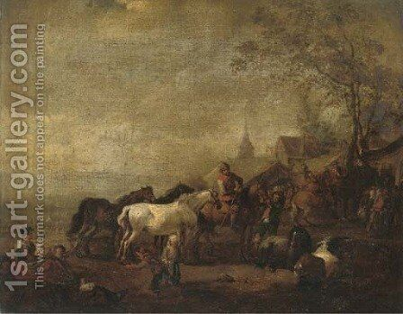 An encampment with officers on horseback by (after) Carel Van Falens Or Valens - Reproduction Oil Painting