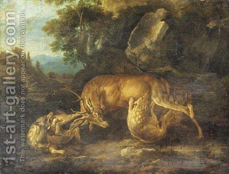 Two wolves attacking a stag in a wooded clearing by (after) Carl Borromaus Andreas Ruthart - Reproduction Oil Painting