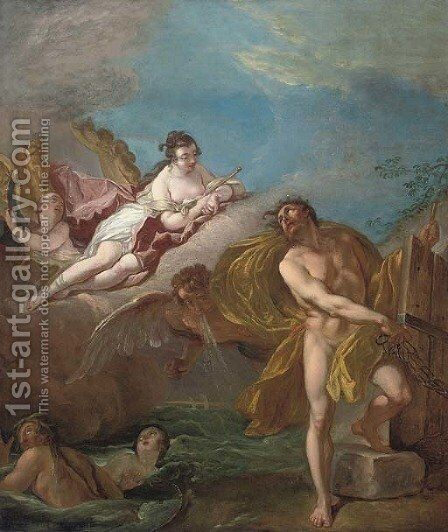 Aeolus unleashing the winds overlooked by Juno by (after) Carle Van Loo - Reproduction Oil Painting