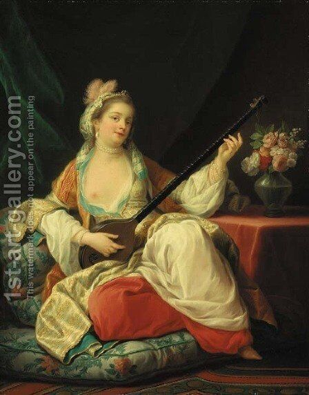 A sultana, reclining on a cushion, playing a lute by (after) Carle Van Loo - Reproduction Oil Painting