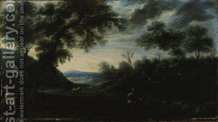 A wooded Landscape with Figures and a horse-drawn Carriage on a Path by (after) Carlo Antonio Procaccini - Reproduction Oil Painting