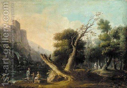 A river landscape with peasants conversing in the foreground, a hilltop castle beyond by (after) Carlo Bonavia - Reproduction Oil Painting
