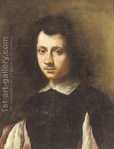 Portrait of a young man, bust-length, in a black doublet with slashed sleeves and a white collar by (after) Carlo Ceresa - Reproduction Oil Painting