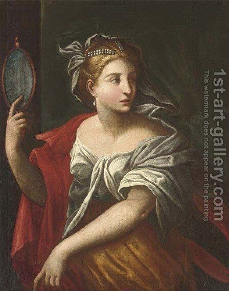 A personification of Vanity by (after) Carlo Cignani - Reproduction Oil Painting