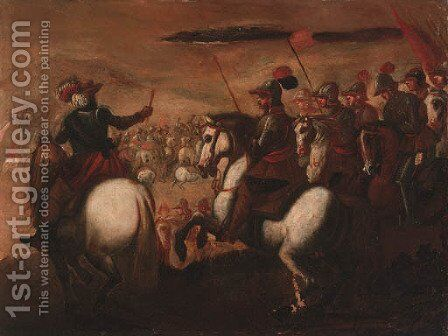Cavalrymen on a battlefield by (after) Carlo Coppola - Reproduction Oil Painting