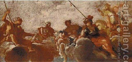 An Assembly of the Gods a sketch for a ceiling decoration by (after) Carlo Innocenzo Carloni - Reproduction Oil Painting