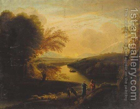 Drovers in a wooded Italianate landscape at sunset by (after) Carlo Labruzzi - Reproduction Oil Painting