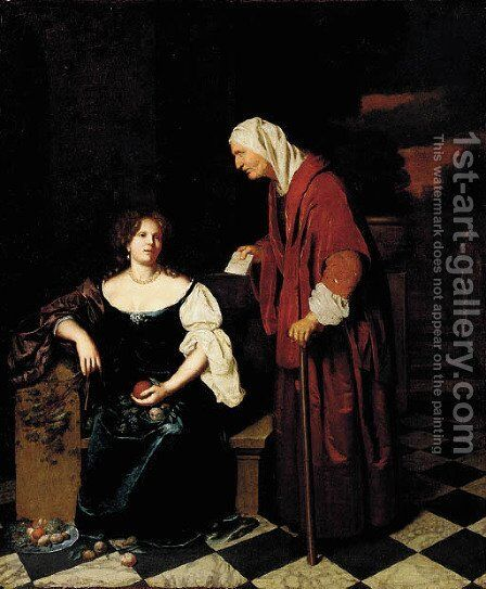 Vertumnus and Pomona by (after) Caspar Netscher - Reproduction Oil Painting