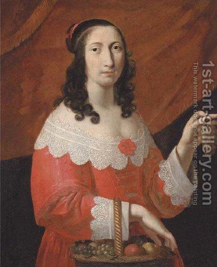 Portrait of a lady 4 by (after) Charles Beaubrun - Reproduction Oil Painting