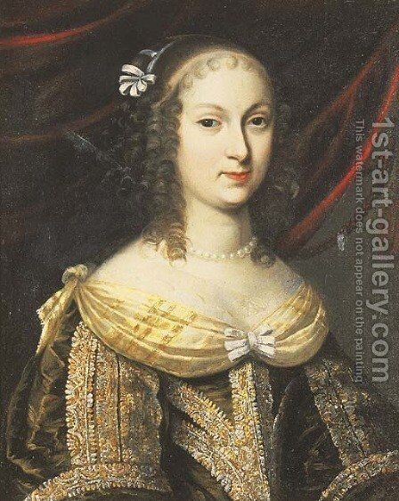 Portrait of a lady, said to be Madame de Longuevuille by (after) Charles Beaubrun - Reproduction Oil Painting