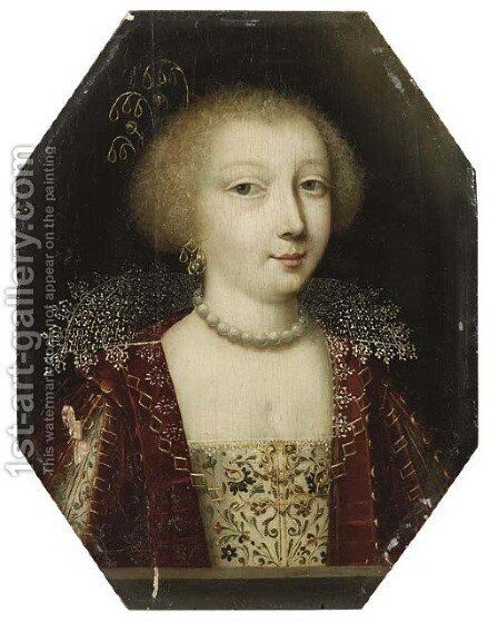 Portrait of a young lady by (after) Charles Beaubrun - Reproduction Oil Painting