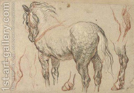 A dappled grey horse with subsidiary studies of its legs by (after) Charles De Lafosse - Reproduction Oil Painting