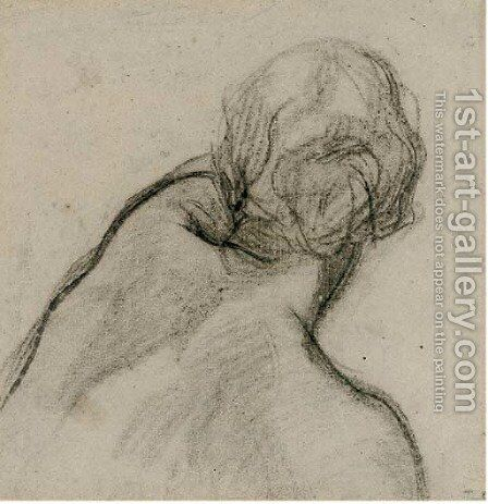 Study of a young woman observed from behind by (after) Charles Haslewood Shannon - Reproduction Oil Painting