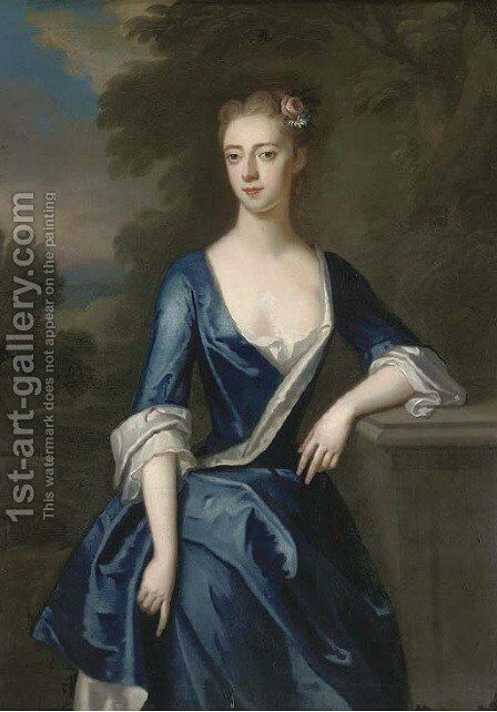 Portrait of a lady, three-quarter-length, traditionally identified as Elizabeth Patheriche, in a blue dress with a landscape beyond by (attr. to) Jervas, Charles - Reproduction Oil Painting