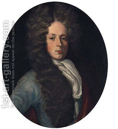 Portrait Of Anthony Wood, Half-Length, In A Blue Coat And White Stock by (attr. to) Jervas, Charles - Reproduction Oil Painting