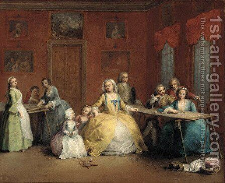 An interior with an elegant company by (after) Charles-Joseph Flipart - Reproduction Oil Painting
