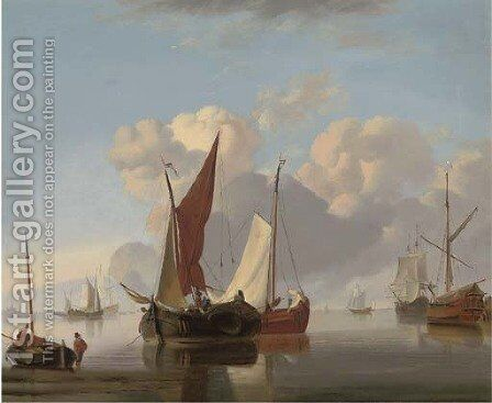Dutch barges at sea in a stiff breeze; and Dutch barges in a calm offshore (illustrated) by (after) Charles Martin Powell - Reproduction Oil Painting