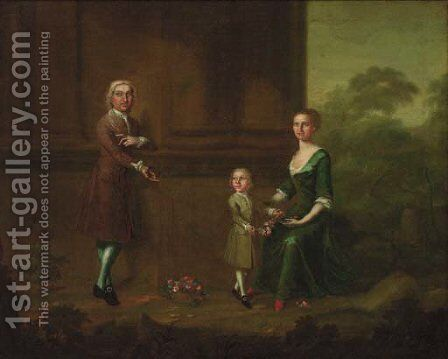 Portrait of a gentleman with his wife and child by (after) Charles Phillips - Reproduction Oil Painting