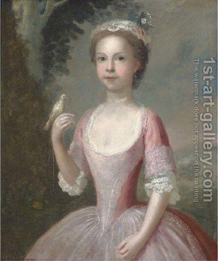 Portrait of a girl by (after) Charles Phillips - Reproduction Oil Painting