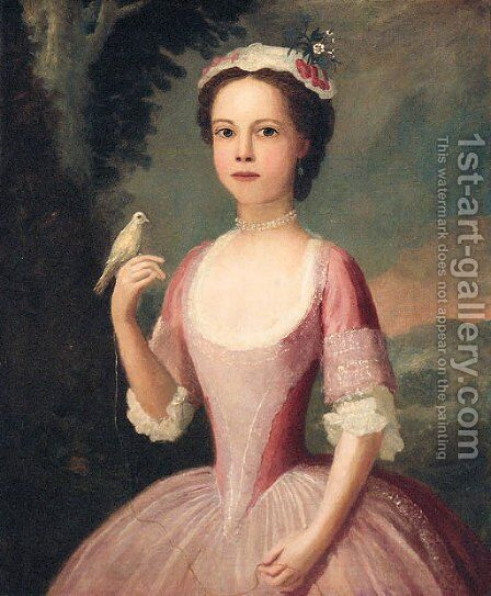 Portrait of a girl 2 by (after) Charles Phillips - Reproduction Oil Painting