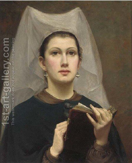 A medieval beauty by (after) Charles Sillem Lidderdale - Reproduction Oil Painting