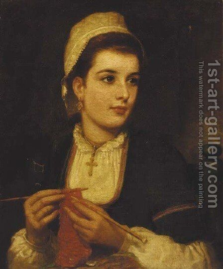 A young lady knitting in an interior by (after) Charles Sillem Lidderdale - Reproduction Oil Painting