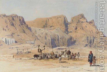 A camel train at Aden by (after) Charles Wilda - Reproduction Oil Painting