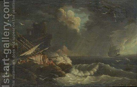 A shipwreck in stormy seas with a siren on the rocks by (after) Charles Francois Lacroix De Marseille - Reproduction Oil Painting