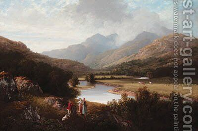 A mountainous wooded River Landscape, with figures in the foreground by (after) Charlotte Nasmyth - Reproduction Oil Painting