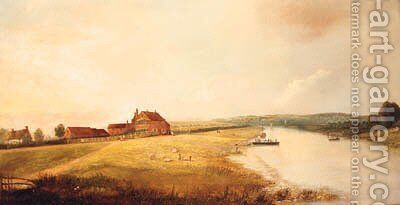 Figures Before A Country House With Figures In A Ferry by (after) Charlotte Nasmyth - Reproduction Oil Painting