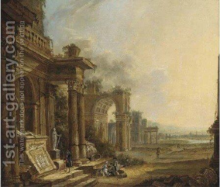 An architectural capriccio of classical ruins with travellers in the foreground by (after) Christian Stocklin - Reproduction Oil Painting