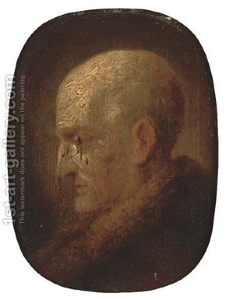 A head of an elderly bearded man by (after) Christian Wilhelm Ernst Dietrich - Reproduction Oil Painting