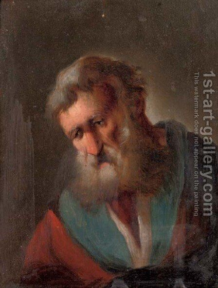 An elderly bearded man by (after) Christian Wilhelm Ernst Dietrich - Reproduction Oil Painting