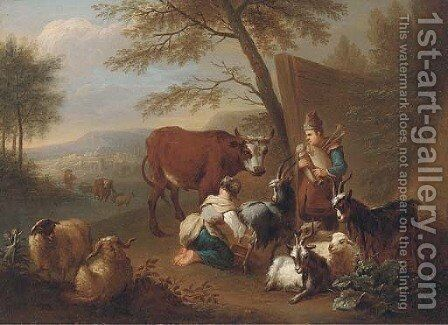 An Italianate landscape with a shepherdess milking a goat, a man playing a doodlesack and a drover fording a river beyond by (after) Christian Wilhelm Ernst Dietrich - Reproduction Oil Painting