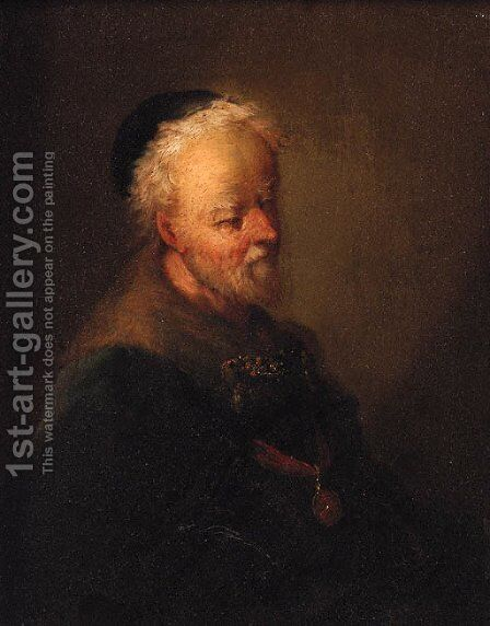 Portrait of an old man by (after) Christian Wilhelm Ernst Dietrich - Reproduction Oil Painting