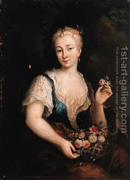 Portrait of a woman, as Flora by (after) Christian Wilhelm Ernst Dietrich - Reproduction Oil Painting