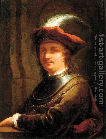 Portrait of Rembrandt Harmensz. van Rijn (1606-1669) by (after) Christian Wilhelm Ernst Dietrich - Reproduction Oil Painting