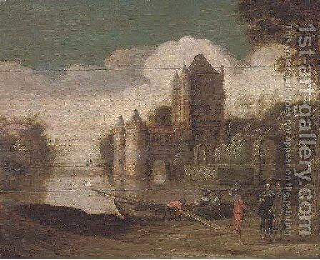 A landscape with a moated castle and gentlemen conversing by a boat by (after) Christoph Jacobsz. Van Der Lamen - Reproduction Oil Painting