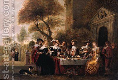 Elegant company at a table on a terrace by a classical portico by (after) Christoph Jacobsz. Van Der Lamen - Reproduction Oil Painting