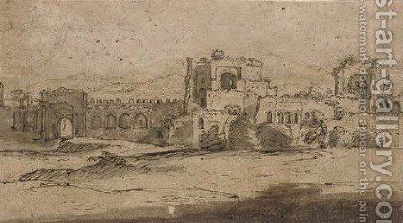 Porta San Giovanni and Porta Asinara in the Aurelian walls of Rome by (after) Claude Lorrain (Gellee) - Reproduction Oil Painting