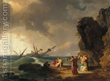 A Mediterranean rocky coastal landscape with a shipwreck in a storm by (after) Claude-Joseph Vernet - Reproduction Oil Painting