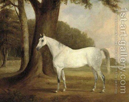 A dappled grey in a landscape by (after) Claude L. Ferneley - Reproduction Oil Painting