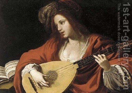 A lady in a red costume and plumed cap playing a lute by (after) Claude Vignon - Reproduction Oil Painting