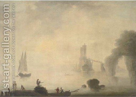 A coastal landscape in early morning with fishermen on a rocky foreground by (after) Claude-Joseph Vernet - Reproduction Oil Painting