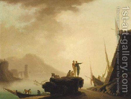 A Mediterranean coastal inlet with fisherfolk on a shoreline by (after) Claude-Joseph Vernet - Reproduction Oil Painting