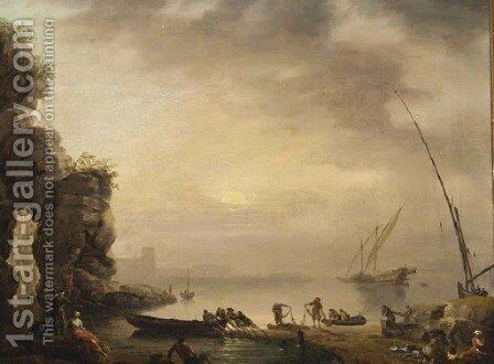 A Mediterranean coastline with fisherfolk on the shore by (after) Claude-Joseph Vernet - Reproduction Oil Painting