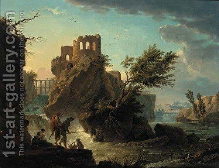 La Peche a la ligne by (after) Claude-Joseph Vernet - Reproduction Oil Painting