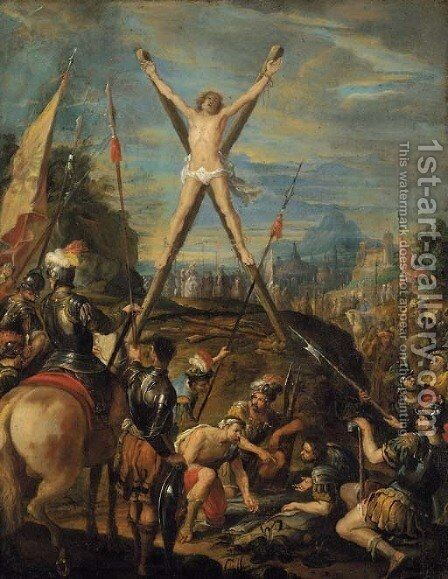 The Crucifixion of Saint Andrew by (after) Claudio Coello - Reproduction Oil Painting
